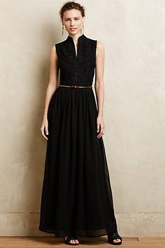 Leaflet Embroidered Maxi Dress - i'm wanting a long back dress - and i think that a sleeveless dress is super flattering
