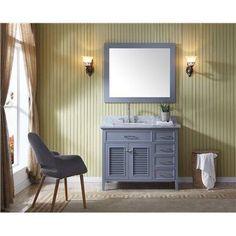 Ariel Kensington Grey Wood 43-inch Left-offset Single-sink Vanity Set (Gray), Size Single Vanities