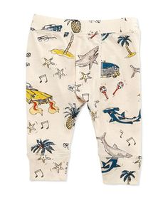 Sharks & Cars Jersey Pants, White, Size 3-24 Months by Stella McCartney at Neiman Marcus.