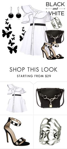 """Black and white"" by marocaine-evazahourova on Polyvore featuring self-portrait, Alexander Wang and Bling Jewelry"