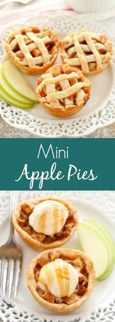 These Mini Apple Pies are easy to make and filled with a simple homemade apple pie filling. The perfect mini dessert for fall! These Mini Apple Pies are easy to make and filled with a simple homemade apple pie filling. The perfect mini dessert for fall! Dinner Party Desserts, Dessert Party, Mini Desserts, Easy Desserts, Delicious Desserts, Dessert Recipes, Quick Dessert, Dessert Healthy, Easy To Make Deserts