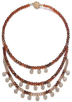 Lyric: Gold / Dark Topaz & Crystal Drops Multistrand Necklace With Magna Clasp