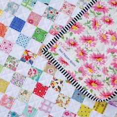 The black and white trim really pops with the pastels in this quilt! Red Pepper Quilts: A Checkerboard Quilt