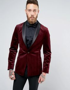 ASOS Skinny Smoking Jacket In Burgundy Velvet