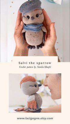Crochet Bird Patterns, Crochet Birds, Crochet Patterns Amigurumi, Knitting Patterns, Crochet Flowers, Macrame Patterns, Crochet Christmas Decorations, Modern Crochet, Christmas Knitting