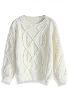 Puffy Cable Knit Sweater in White