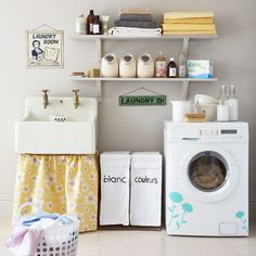 Pretty Vintage Laundry Room Decor Ideas with these soft colors, gorgeously feminine wallpaper (seriously obsessed with these candy can stripes), and retro laundry accessories, this laundry room is so chic, you might end up ENJOYING laundry day. Laundry Room Sink, Laundry Room Wall Decor, Basement Laundry, Laundry Room Organization, Laundry Storage, Laundry Room Design, Laundry Rooms, Laundry Area, Garage Laundry
