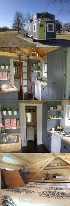 From Burrow Tiny Homes is the 20' Wanigan. The 250 sq.ft. house features two sleeping lofts, a large sofa with storage, and a fold-down dining table.