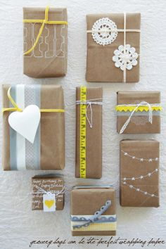 brown paper bags and a lil' elbow grease make these packages adorbs
