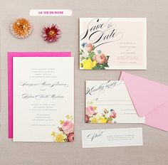 La Vie en Rose - Hello Lucky! wedding invites
