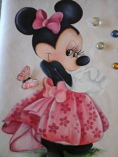 Minnie Mouse Pictures, Mickey Mouse Images, Mickey Mouse Cartoon, Minnie Mouse Party, Mouse Parties, Tole Painting, Fabric Painting, Minnie Mouse Drawing, Disney World Christmas