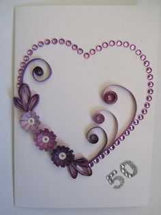 Quilling heart with flowers (purple and pink)