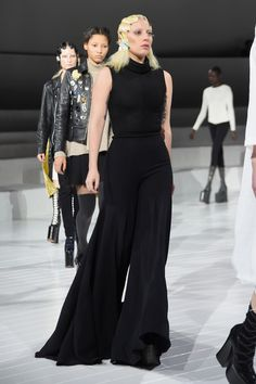 Lady Gaga Jumpsuit - Lady Gaga rehearsed for the Marc Jacobs fashion show looking oh-so-chic in a super-flared black jumpsuit.
