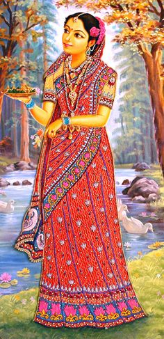 Lalita is famous as Srimati Radharani's constant companion and follower. Lalita is contrary and hot-tempered by nature. Her complexion is like the yellow pigment gorocana and her garments are like peacock feathers.