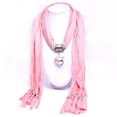 Beora Pink Scarf Heart Pendant Necklace at Trendymela.com