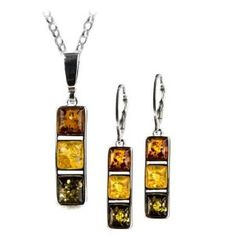 Graciana -- Sterling Silver Multicolor Amber Square Leverback Earrings Necklace Set 18 Inches