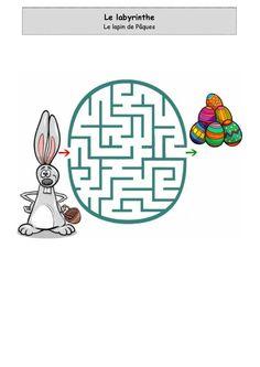Le lapin de Pâques n°1 - Labyrinthe Easter Crafts, Crafts For Kids, Activity Sheets, Kids Education, Maze, 3 D, Activities, Lolo, Comme