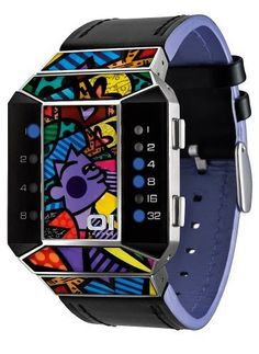 01TheOne Unisex SC125B1 Split Screen Romero Britto Art Purple Watch 01TheOne. Save 50 Off!. $197.50. High grade stainless steel case with enamel design inlay. Water-resistant to 99 feet (30 M). Uses 01TheOne's binary time telling system. Designed by internationally renowned artist, Romero Britto exclusively for 01TheOne. Genuine black leather strap with purple leather lining