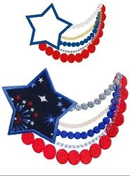 Cute Fourth of July Necklace Applique - 3 Sizes! | 4th of July | Machine Embroidery Designs | SWAKembroidery.com Band to Bow