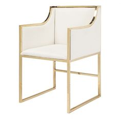 Linen and Gold Dining Chair - Sarah Virginia Home
