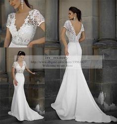 Plus Size Mermaid Vintage Lace Wedding Dresses Fitted 2015 Sexy V Neck Short Sleeves Long Satin Arabic Wedding Dresses Mermaid Style Gowns Online with $174.09/Piece on In_marry's Store | DHgate.com