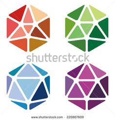 Crystal abstract logo template. Jewelry concept. Vector icon. Gem symbol. Crushing abstract hexagon pattern. Colorful precious stone icons set. - stock vector