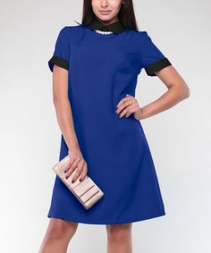 Another great find on #zulily! Electric Blue & Black Peter Pan Collar A-Line Dress - Plus Too #zulilyfinds