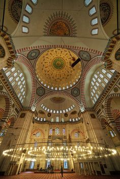 That's one heck of a chandelier! Suleymaniye Mosque in Turkey