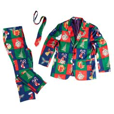 Nothing spreads holiday cheer like someone dressed in ugly gear. With a checkered pattern of festive Christmas icons, this 3-piece suit has all the right accessories for one fun bargain.
