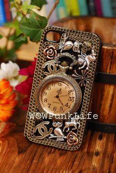 Custom Vintage Design Retro Pocket Watch Antique Brass Clock Owl iPhone Case iPhone 4 Case iPhone 5 Case iPhone 4S Case. $28.00, via Etsy.