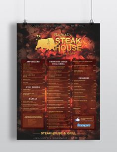 Menu, Rafaels Steakhouse & Bar by Ville Palmu, via Behance Coal Grill, Grilled Desserts, Party Poster, Fish Dishes, Bars For Home, Four Square, Caramel, Appetizers, Menu