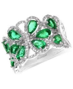 Brasilica by EFFY Emerald (2-1/5 ct. t.w.) and Diamond (1/2 ct. t.w.) Flower Ring in 14k White Gold | macys.com