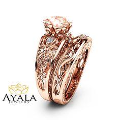 Peach Pink Morganite Engagement Ring Set 14K Rose by AyalaDiamonds