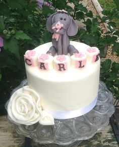 ELEPHANT BABY SHOWER Cake Topper and flower by EdibleSugarArt, $39.00