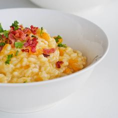 Creamy and rich acorn squash and bacon #risotto. Worth every one of those minutes spent stirring the mixture. #glutenfree