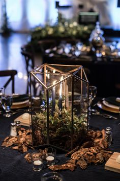 This elegant, enchanted forest wedding has the magical vibes you need LGBTQ+ weddings moody romantic two grooms gay wedding tuxedos woods candle votives centerpiece wedding decorations centerpieces Witch Wedding, Fantasy Wedding, Wood Themed Wedding, Wedding Coat, Enchanted Forest Prom, Enchanted Wedding Themes, Enchanted Forest Quinceanera Theme, Enchanted Forest Centerpieces, Enchanted Garden Wedding