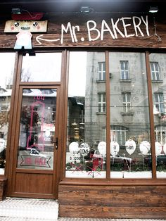 Mr. Bakery | Bucharest, Romania does a wonderful job of branding in-store. Many eateries forget to brand the inside of their locations so you are left sitting inside, not really acknowledging the specific space you are in. #Branding #Retail #Romania