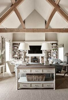 Stunning French Country Living Room Decor Ideas - Page 39 of 41 Country Modern Home, French Country Living Room, Country House Interior, Farmhouse Interior, Country Style, Country Family Room, Farmhouse Decor, Country Bedrooms, Farmhouse Fireplace
