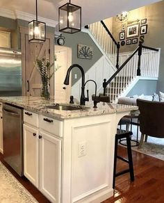 Looking for for images for farmhouse kitchen? Browse around this website for cool farmhouse kitchen pictures. This amazing farmhouse kitchen ideas appears to be completely brilliant. Kitchen Redo, New Kitchen, Kitchen Ideas, Kitchen Counters, Kitchen Sinks, Kitchen Black, Island Kitchen, Gray Kitchen Walls, 1960s Kitchen
