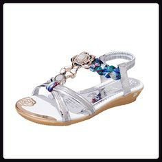 0a11fa7932188f Transer® Damen Flach Mode Sandalen mit Blume Rhinestone Webart T-Gurt Gold  Silber Sandalen (37