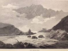 c1880 ANTIQUE ENGRAVING - THE REMARKABLES, MOUNTAIN RANGE, NEW ZEALAND - SCHELL