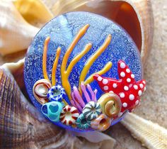 Silver Blue Ocean Reef Focal Bead  SRA Glass by artwithheart, $25.00