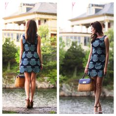 Lilly Pulitzer navy blue delia scalloped hem shift dress
