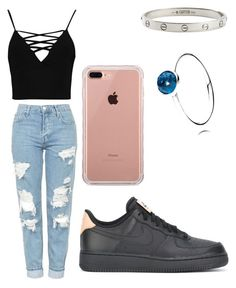 """""""Tuesday Outfit"""" by kiraleighx on Polyvore featuring Topshop, Boohoo, NIKE, Cartier, Pandora and Belkin"""
