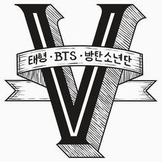 V - BTS Member Logo Series (Black)