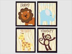 Safari Nursery Art - Custom nursery art - set of four - nursery wall art - elephant - lion - monkey - giraffe - jungle nursery