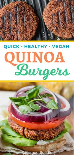 Recipes Snacks Kids This vegan quinoa burger recipe is easy, healthy and packed with protein. There's no food processor required and it comes together quickly in one bowl! It's a great meat-free comfort food that works all year round – try it! Quinoa Recipes Easy, Delicious Vegan Recipes, Veggie Recipes, Vegetarian Recipes, Protein Recipes, Rice Recipes, Recipes Dinner, Tasty, Burger Recipes