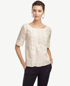 Best Victorian Blouses (that's aren't like playing dress up) Ann Taylor Eyelet Lace Top