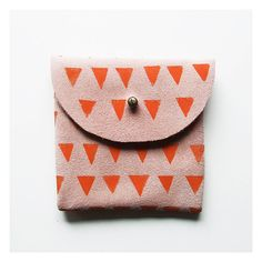 Coin Purse // Pink suede with small orange triangles