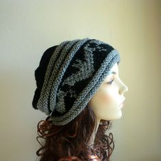 Hand knitted black slouch hat with gray bat by NingNingGong, $38.00